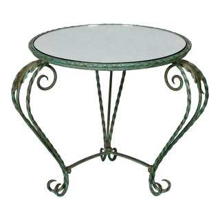 1930's Italian Iron Mirror Top Low Round Table