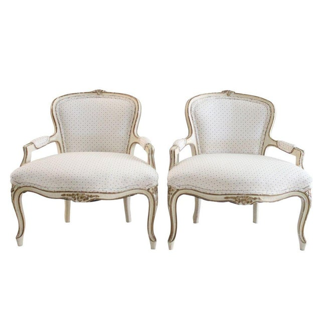 Off-White Louis XV Style Child's Armchairs - Pair - Image 1 of 4