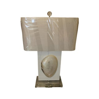 White Lacquered Lamp With Shell