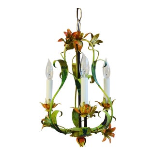 Vintage Italian Three Arm/Light Lily Flower Tole Chandelier