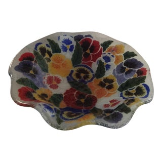 Peggy Karr Fused Glass Pansies Bowl