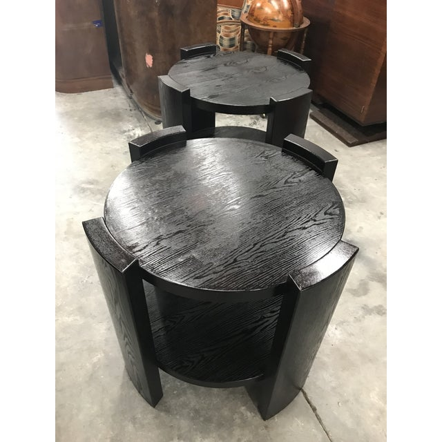 French Art Deco Solid Ebonized Cerused Oak Coffee Tables - A Pair - Image 9 of 11