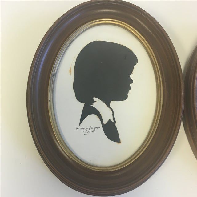 Vintage Boy & Girl Silhouettes, 1972 Signed - Pair - Image 4 of 11