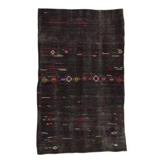 Vintage Turkish Kilim Hand Woven Embroidered Black Rug - 7′7″ × 12′6″