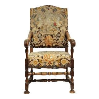 French Louis XIII Style Walnut Armchair