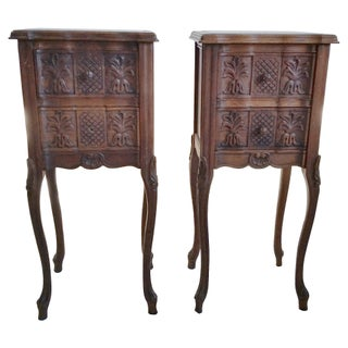French Marble-Top Nightstands - Pair