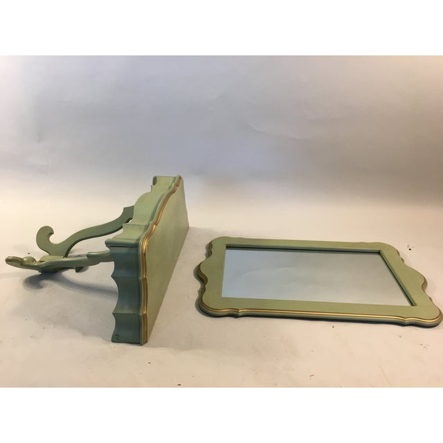 Image of Shabby Mint Green Foyer Demilune Table Wall Shelf & Mirror - A Pair