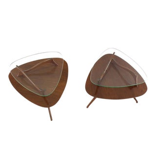Pair of Round Triangular Tri Legged Two-Tier Side Tables