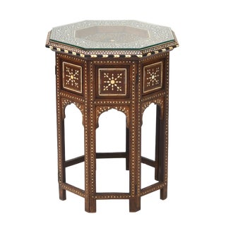 Anglo-Indian Folding Inlaid Octagonal Side Table