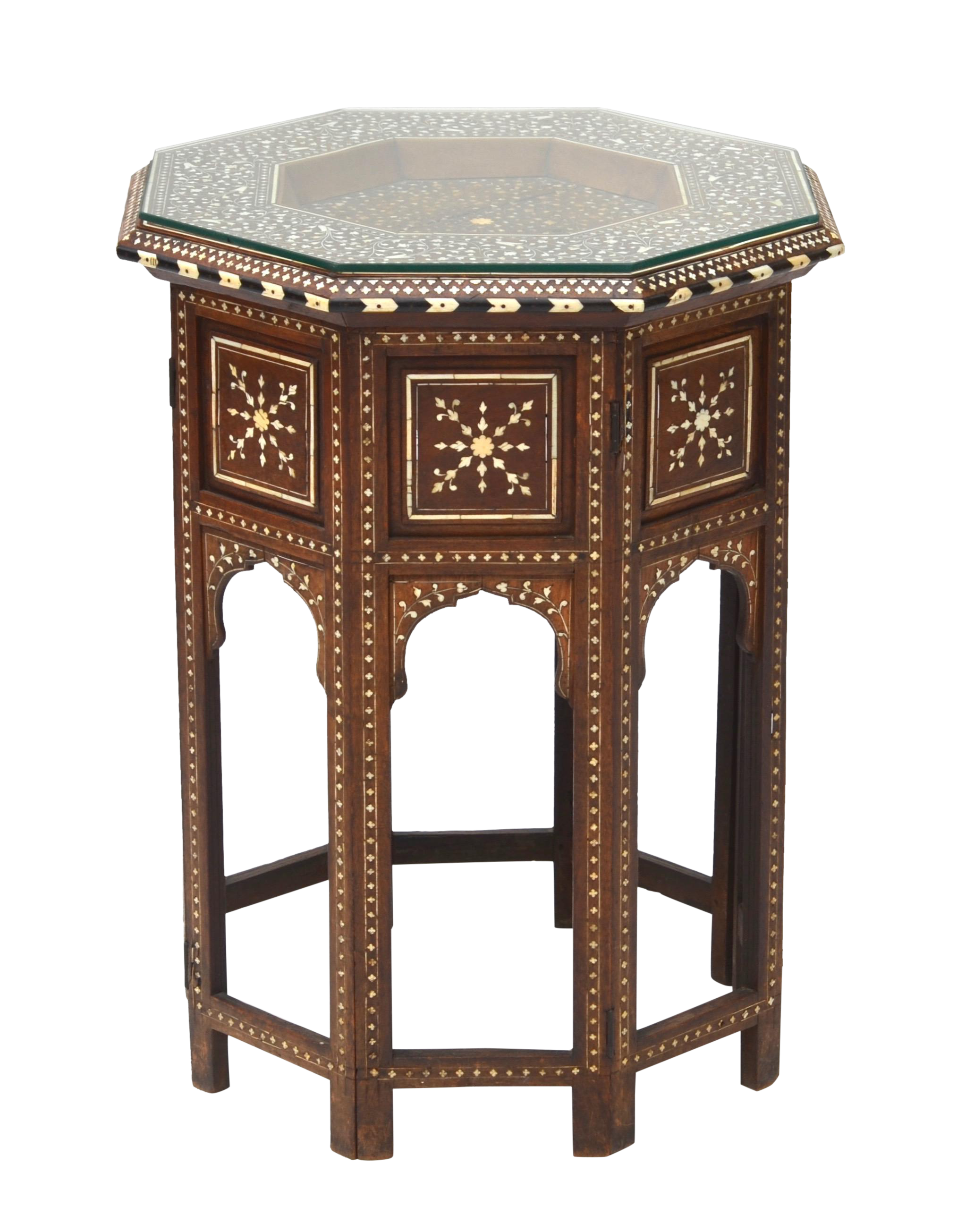 Anglo Indian Folding Inlaid Octagonal Side Table   Image 1 Of 7