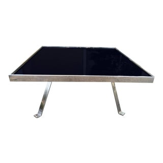 Chrome and Black Glass Cocktail Table