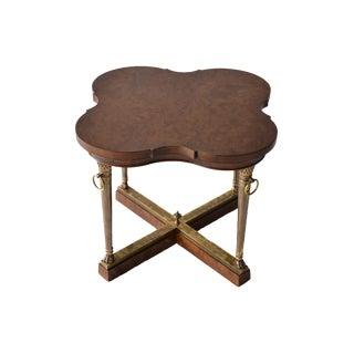 Vintage Burl Wood & Brass Side Table