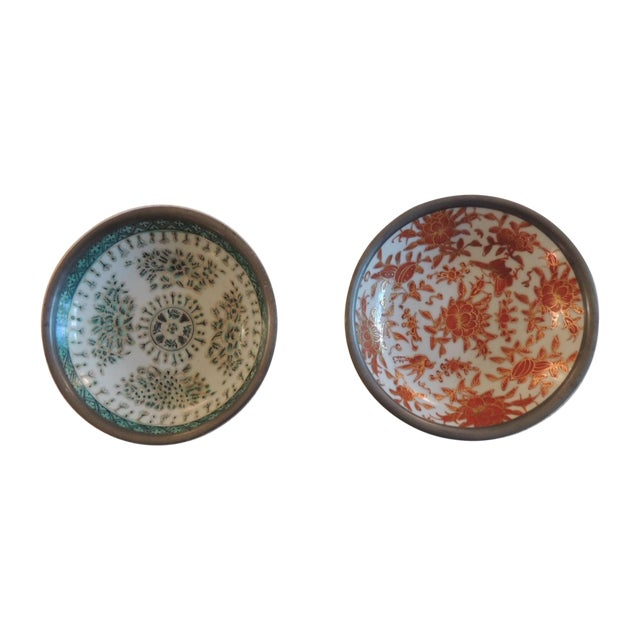 Vintage Imari Dishes Encased in Pewter - A Pair - Image 1 of 4