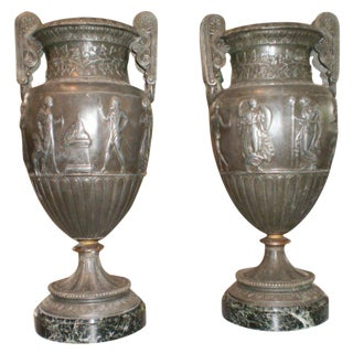 Antique French Neoclassical Style Urns - A Pair