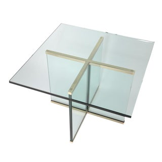 1970S BRASS AND GLASS SIDE TABLE BY LEON ROSEN FOR PACE COLLECTION