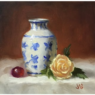 Small White Vase and Rose Original Oil Painting
