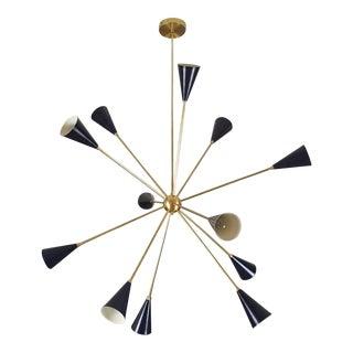 "2017 Blueprint Lighting Sculptural Brass & Enamel ""Spore"" Chandelier *Custom Colors*"