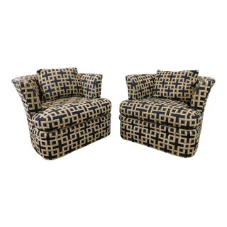 Good, Comfortable 1980s Contemporary Upholstered Swivel Club Chairs - A Pair