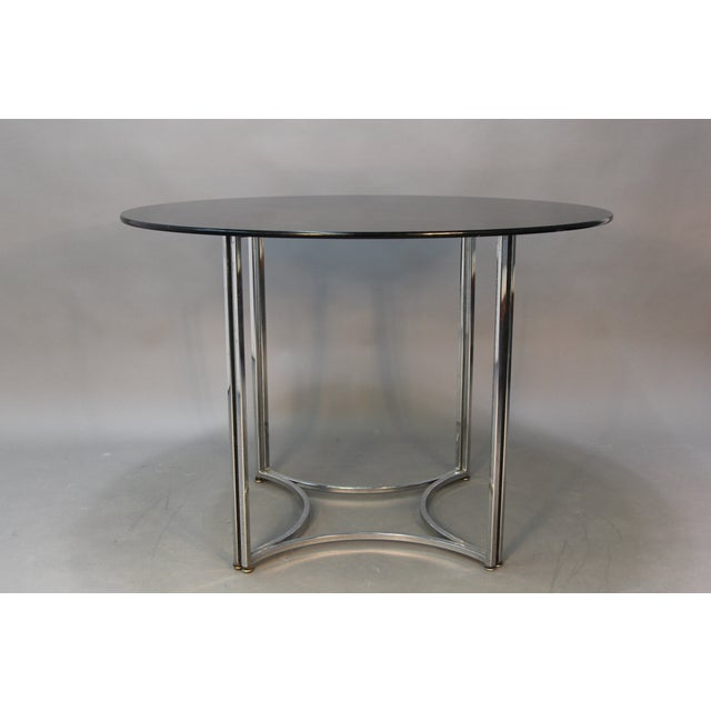 Chrome and Smoked Glass Round Top Dining Table - Image 2 of 6
