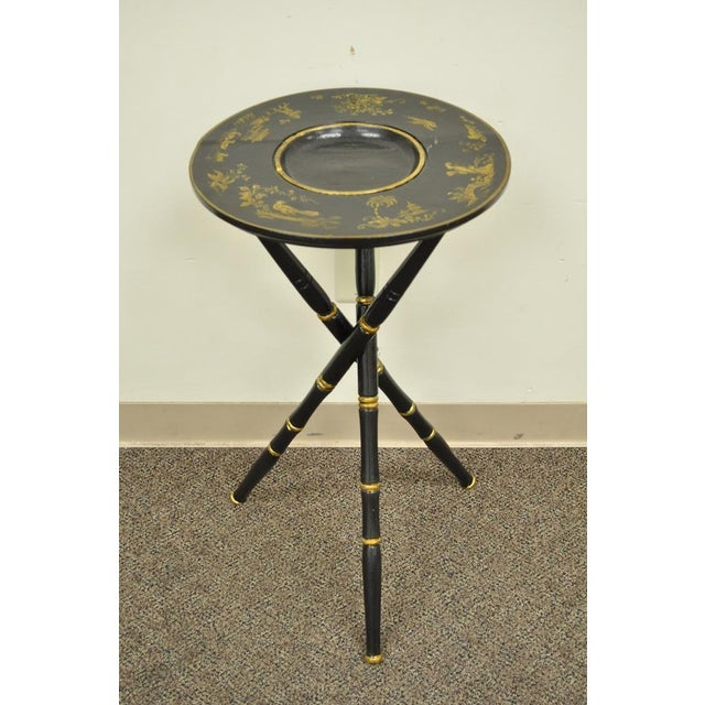 Antique Victorian English Decorated Faux Bamboo Tripod Occasional Side Table - Image 11 of 11