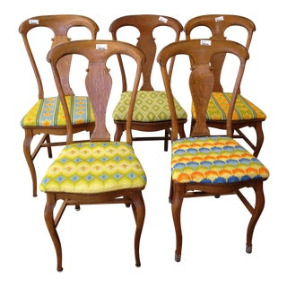 Queen Anne Style Dining Chairs - Set of 5