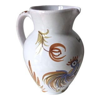 Italian Faience Rooster Pitcher-Signed