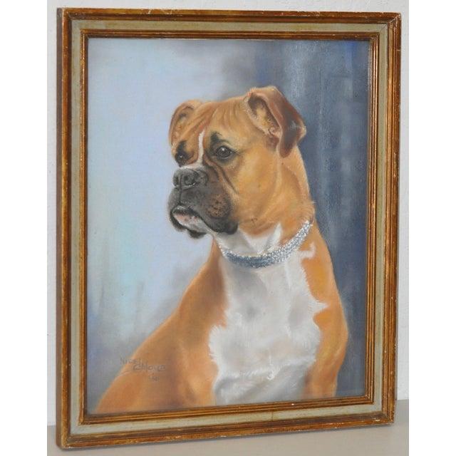Nigel Mould Vintage 1956 Pastel Bulldog Portrait - Image 2 of 5
