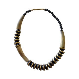 Vintage Brass and Black Horn Necklace