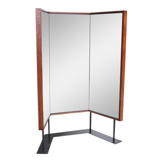 Mid-Century Free-Standing Three-Panel Mirror