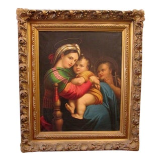 Fine Oil On Canvas After Raphael-Madonna And Child
