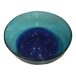 Turquoise Mexican Glass Bowl