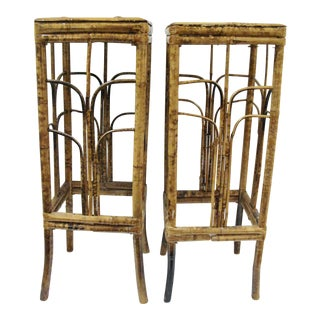 Vintage Burnt Bamboo Martini/ Plant Stand Tables - A Pair