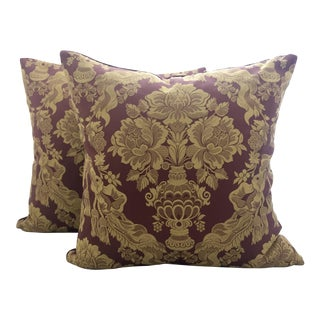 Italian Burgundy and Gold Silk Damask and Velvet Pillows - A Pair