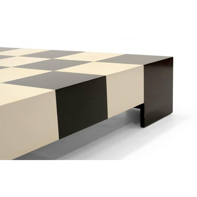 Large Square Black and White Checkerboard Coffee Table by Milo Baughman - Image 4 of 9