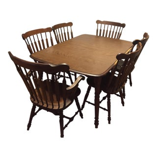 Traditional Wood Dining Table & Chairs - Set of 7