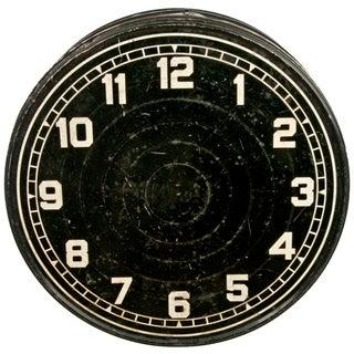 Vintage Black Clock Face Storage Tin