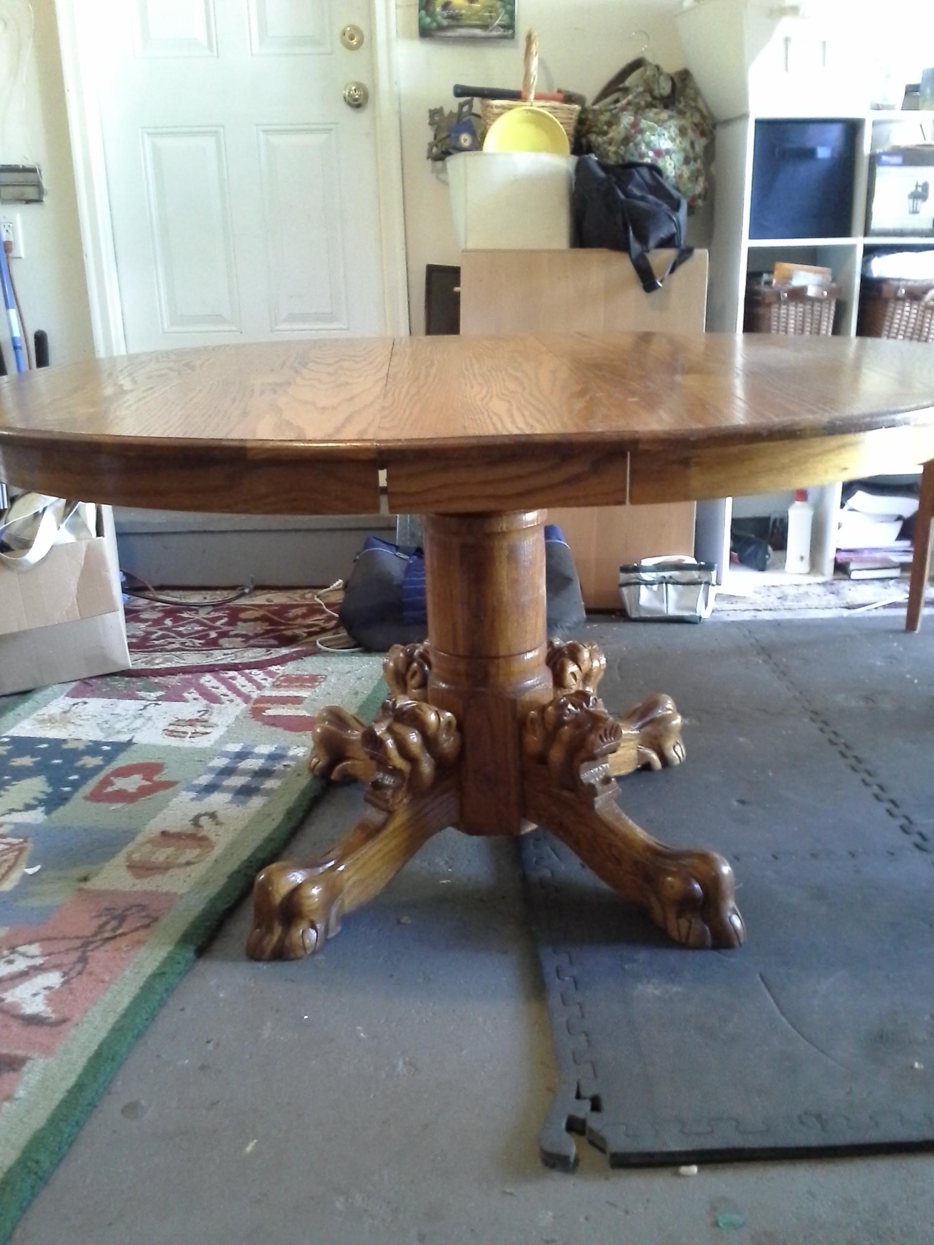 Antique Oak Pedestal Lion Head Feet Dining Table Chairish
