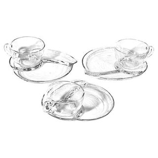 1950's Leaf-Shaped Glass Snack Set - 6 Pieces