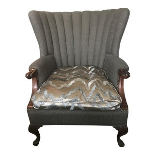 Gray Channel Back Armchair