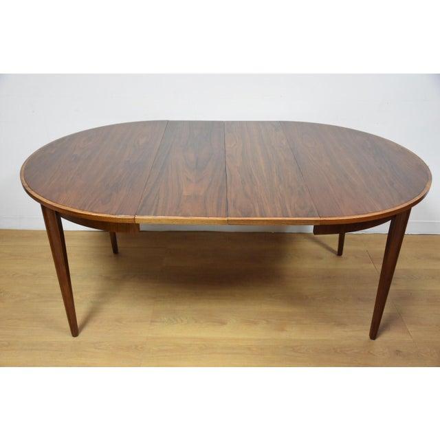 Mid century walnut ash border dining table chairish for Table border