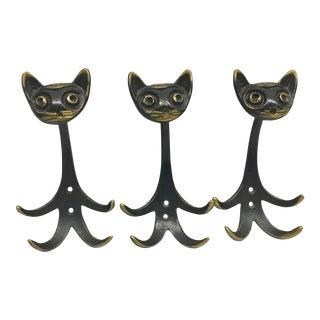 Vintage Walter Bosse Cat Motif Coat Hooks - Set of 3