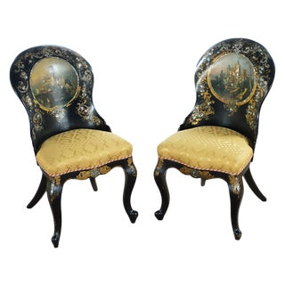 19th-Century Mother-of-Pearl Inlaid Chairs- A Pair