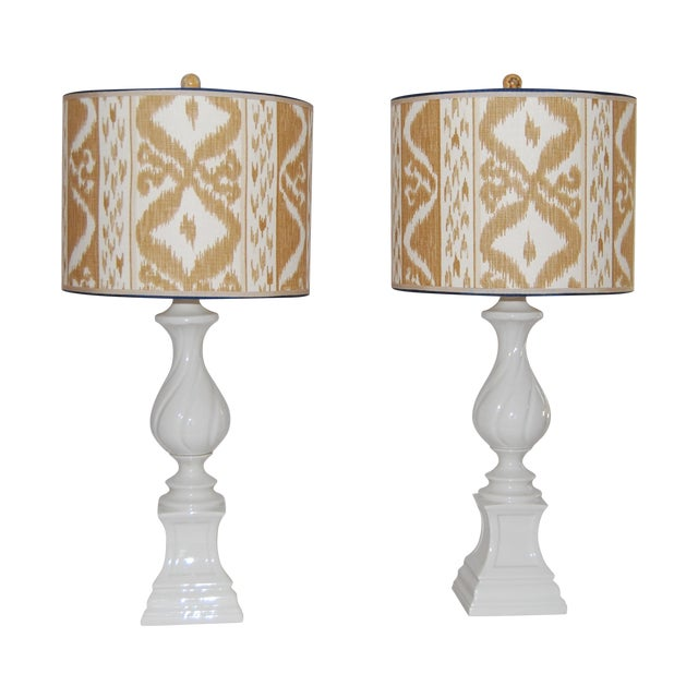 Column Lamps with Ikat Shades- A Pair - Image 1 of 6
