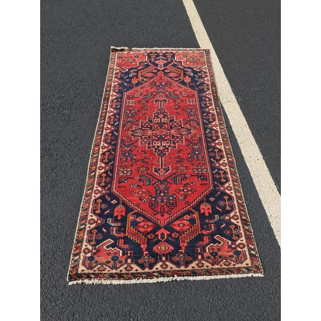 "Vintage Persian Zanjan Short Runner - 2'9"" x 6' - Image 2 of 10"