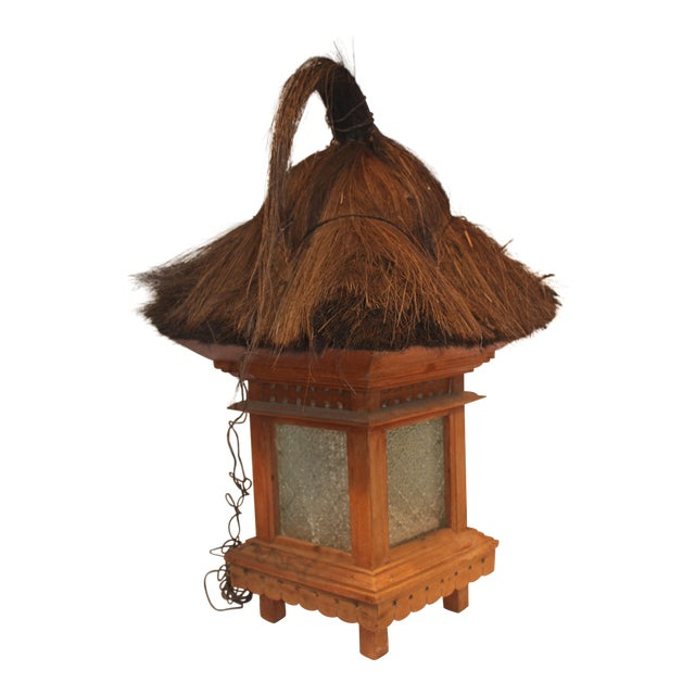 Balinese Traditional Wood & Grass Lantern - Image 1 of 3