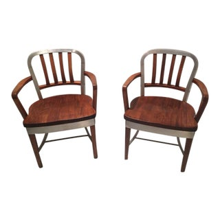 Shaw-Walker Model 8312 Wood & Aluminum Chair - A Pair