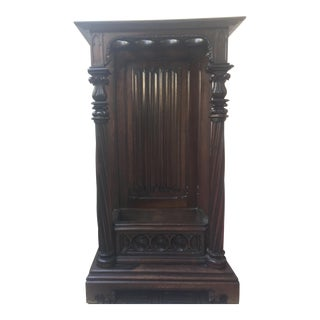 Antique Victorian Oak Umbrella Stand With Removable Marble Slab