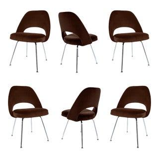 Saarinen Executive Armless Chairs in Espresso Brown Velvet - S/6