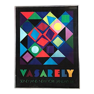Framed Vintage Vasarely Exhibition Poster 1966