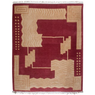 Hand-Knotted Art Deco Wool Rug